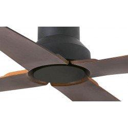 Ventilatore da soffitto, Winche, 130cm, nero e marrone, design, interni/esterni, IP44, Faro.