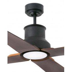 Ventilatore da soffitto, Winche, 130cm, nero e marrone, design, interni/esterni, IP44, luce LED Faro.