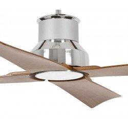entilatore da soffitto, Winche, 130cm, nero e marrone, design, interni/esterni, IP44, luce LED Faro.