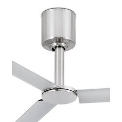 Ventilatore da soffitto, Tao, 130cm, DC, nichel opaco, design industriale, iper silenzioso, Faro.