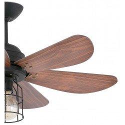 Ventilatore da soffitto, Chicago, 91,5 cm, industrial, acciaio nero e pale noce, con luce, Faro.