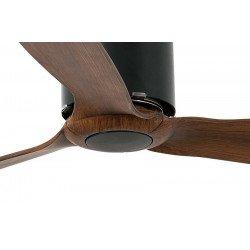 Ventilatore da soffitto, Tube Fan Nero e legno, 128 cm, design, nero opaco/legno, con telecomando, Faro.
