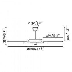 Ventilatore da soffitto, Yakarta Blanc, 121 cm, classico, bianco/acero, con telecomando, Faro.