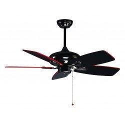 Ventilatore da soffitto, Redwin, 107cm, pale double-face nere e rosse, moderno, Klass Fan.