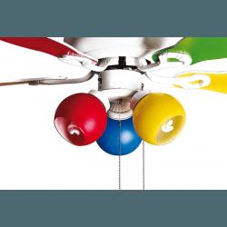 Ventilatore da soffitto, Colore, 107cm, moderno, bianco e multicolore, con luce, destratificazione, Purline by KlassFAn.