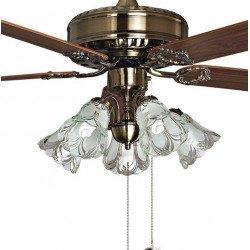 Ventilatore da soffitto, Toureillo, 152 cm, ottone antico, con luce, Purline by Klassfan.