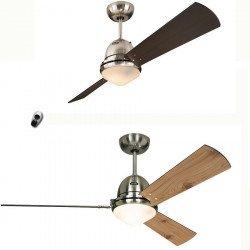 Ventilatore da soffitto, Libeccio Bn, 120/142cm, pale pino/wengué/ciliegio/acero , Klass Fan.
