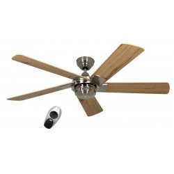 Ventilatore da soffitto, Rotary NOI 132 Cm. moderno, cromo spazzolato, lame wengè.CASAFAN