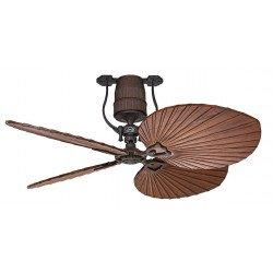 Ventilatore da soffitto Roadhouse BA, vintage, DC, corpo bronzo dipinto a mano, pale scolpite in legno di ciliegio, senza luce,
