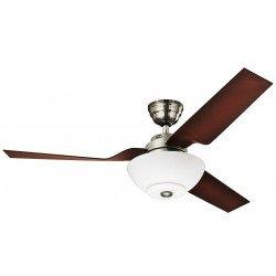 Ventilatore da soffitto, Flight BN, corpo cromato, pale marrone caffé, con luce, Hunter