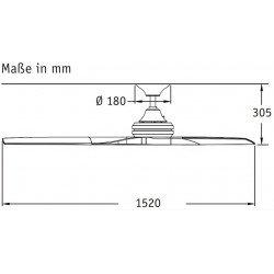 Ventilatore da soffitto, Spitfire BN-N, 153 cm, moderno, corpo cromo spazzolato, pale legno naturale, Fanimation.