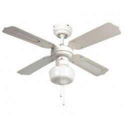 Ventilatore a soffitto, 91 cm, bianco c/s rattan, con luce, cordicelle,Lba Home