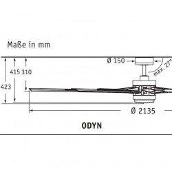 Ventilatore da soffitto Odyn MW, 213,5cm, industriale, moderno, motore DC, 9 pale, bianco opaco, con luce, Fanimation.