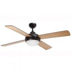 Ventilatore da soffitto, Effy Chr Chocolate, 122 cm, moderno, acciaio marrone/ pale faggio o Wengé, con luce, Lba Home.