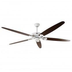 """Ventilatore da soffitto, """"Classic Royal 180 WE"""", 180 cm, corpo bianco, pale rovere antico/ noce, Casafan."""