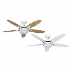 Ventilatore da soffitto, Contempo WE, 132cm, moderno, acciaio bianco, 5 pale bianche/rovere chiaro, con luce, Hunter.