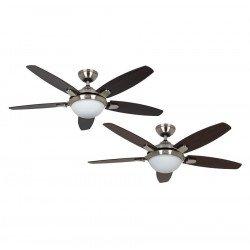 Ventilatore da soffitto, Contempo BN, 132cm, moderno, acciaio cromato, 5 pale noce scuro/ciliegio, con luce, Hunter.