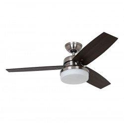 Ventilatore da soffitto, Galileo NB, 122cm, moderno, acciaio cromato, pale noce scuro/rovere scuro,  con luce, Hunter.