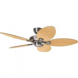 Ventilatore da soffitto, Outdoor Elements Arod, 137cm, tropicale, per uso interno e esterno, IP44, corpo alluminio, pale rattan