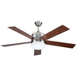 Ventilatore da soffitto, Ice, 132cm, moderno, acciaio cromato, pale grigio/o noce,  con luce, Lba Home.
