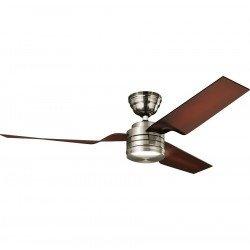 Ventilatore da soffitto, Flight BN, corpo cromato, pale marrone caffé, Hunter