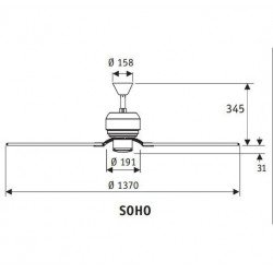 Ventilatore da soffitto, Soho WE, 132 cm, design, corpo bianco, pale bianche/acero, comando a parete, Hunter.