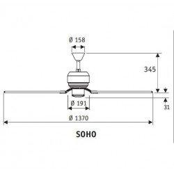 Ventilatore da soffitto, Soho, 132 cm, design, nichel, pale cioccolato/acero, comando a parete, Hunter.