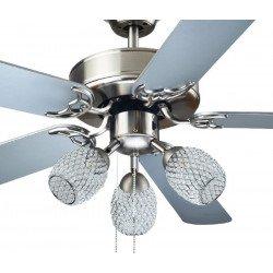 Ventilatore da soffitto, Emeral, 110 cm, pale grigio argento, corpo niquel, con luce, Lba Home.