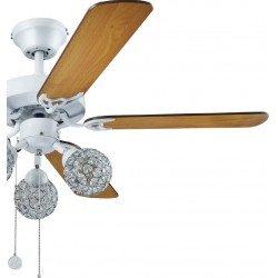 Ventilatore da soffitto, Ruby, 110 cm, pale acero/wengué, corpo bianco, con luce, Lba Home.