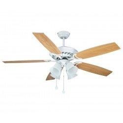 Ventilatore da soffitto, Biuk, 132 cm, pale bianco/acero, moderno, con luce, reversibile, Lba Home.