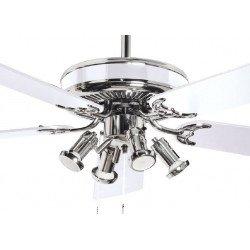 Ventilatore da soffitto, Spike, 132 cm, classico e moderno, pale bianche, corpo acciaio, con luce, Lba home.
