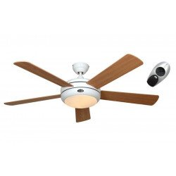 Ventilatore da soffitto, Titanium, 132 cm, Design, silenzioso, corpo bianco lucido, pale acero/faggio, con luce, Casafan.