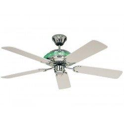 Ventilatore da soffitto, moderno e classico, luce integrata, corpo con rivestimento in smalto cromato, pale bianche, CasaFanan