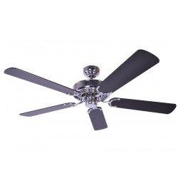 Ventilatore da soffitto, Potkuri, 132cm, classico, acciaio, pale nere c/s 2 strisce argentate, senza luce, Pépeo