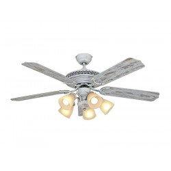 Ventilatore da soffitto, Centurion, 132 cm, Shabby chic, betulla invecchiata, corpo laccato bianco rovinato, con luce, reversibi
