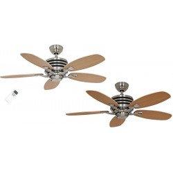 Ventilatore da soffitto, Eco Gamma, 103 cm, moderno, acciaio spazzolato, pale faggio/acero, iper silenzioso, Casafan