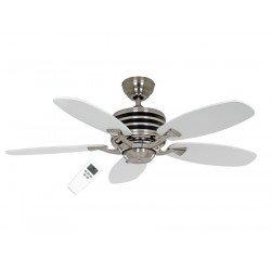 Ventilatore da soffitto, Eco Gamma, 103 cm, moderno, acciaio spazzolato, pale bianche/grigie, iper silenzioso, senza luce,Casafa