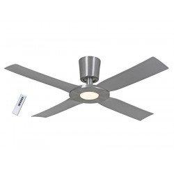 Ventilatore da soffitto, Eco Disk, 142 cm, moderno,alluminio spazzolato, con luce,iper silenzioso, Casafan