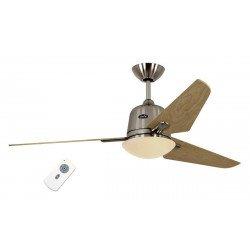 Ventilatore da soffitto, Eco Aviatos 132 BN-AH, 132 cm, DC, moderno, cromo e acero, con luce, Casafan.