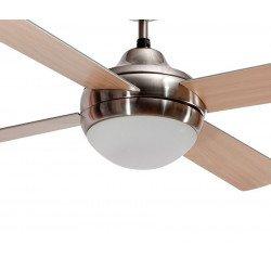 Ventilatore da soffitto, Kromygris, 132 cm, pale faggio/grigio argenteo, con luce, economico, LbaHome