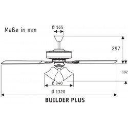 Ventilatore da soffitto, Builder Plus WE , 132cm, classico, bianco/faggio, con luce, Hunter.