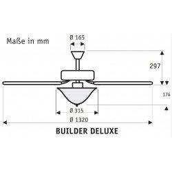 Ventilatore da soffitto, Builder Deluxe WE , 132cm, classico, bianco/faggio, con luce, Hunter