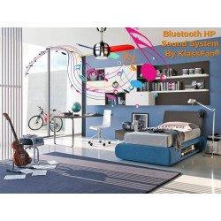 Ventilatore da soffitto, Sound System, 96 cm, DC,  moderno, cromo/multicolore, altoparlante bluetooth, KlassFAn.