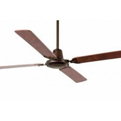 Ventilatore da soffitto, Malvinas, 140cm, corpo marrone ossidato/ pale mogano, moderno, Faro.
