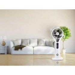 Ventilatore nebulizzatore/ionizzatore/ funzione anti zanzare, Misty 3, bianco con dettagli neri, Purline.
