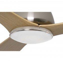 Ventilatore da soffitto, Drop, 135 cm, design, corpo cromo lucido, pale acero, con luce, DC, Lba Home