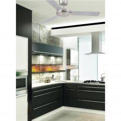 Ventilatore da soffitto, Mini Mallorca, 106cm, nichel opaco/ grigio/nero, moderno, Faro.