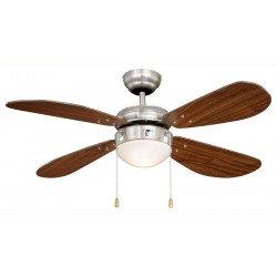 Ventilatore da soffitto, 105 cm, acciaio nichelato/noce, con luce, Fan Boutique
