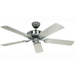"""Ventilatore da soffitto, """"Classic Royal CH/WE"""", 132 cm, corpo cromo lucido, pale bianche/grigie, Casafan."""