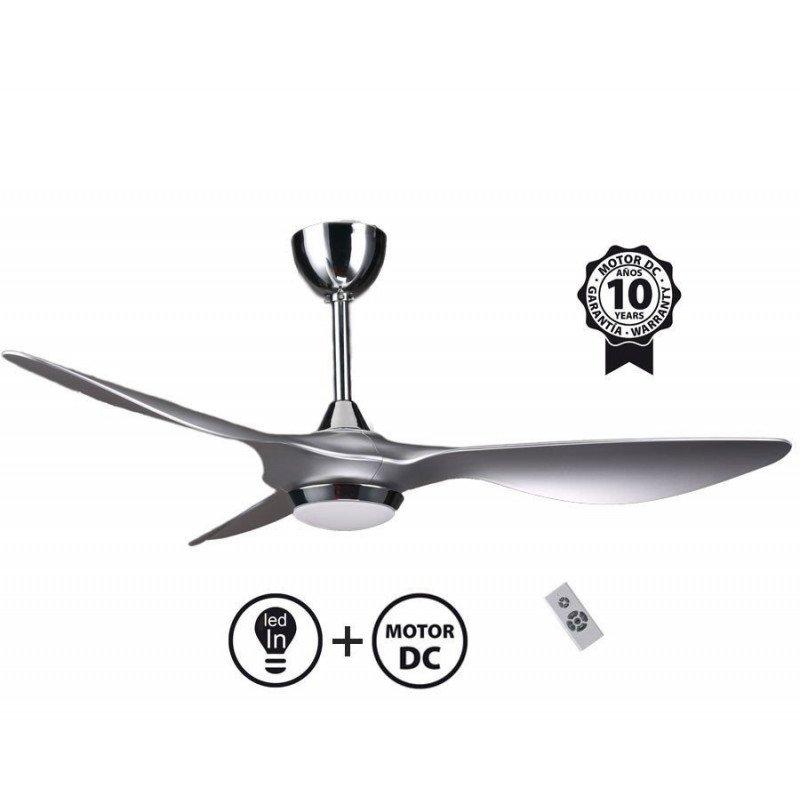 Ventilatore da soffitto super destratificatore, Helix Silver, 132cm, DC argento , con luce, termostato, Klass Fan